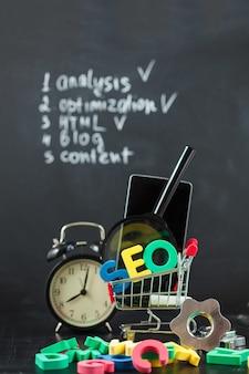 Seo search engine optimization letras coloridas de seo.