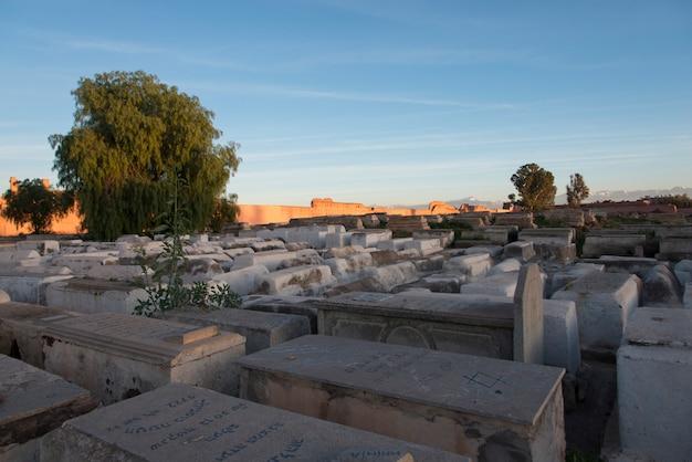 Sepulturas, em, cemitério judaico, miaara, mellah, medina, marrakesh, marrocos