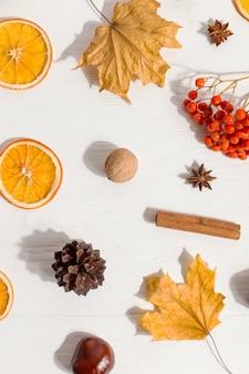 Seque as folhas amarelas, especiarias, castanhas, frutas, cones e laranjas em cima da mesa. humor de outono, copyspace, luz da manhã.