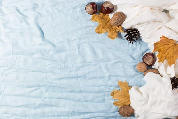 Seque as folhas amarelas, um cachecol, castanhas e cones na mesa. humor de outono, copyspace, luz da manhã.