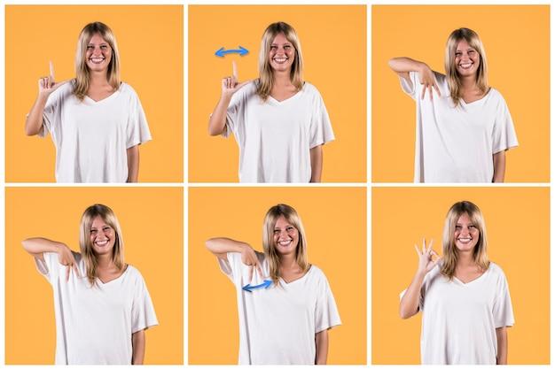Série de mulher mostrando alfabetos de sinais surdos em fundo amarelo