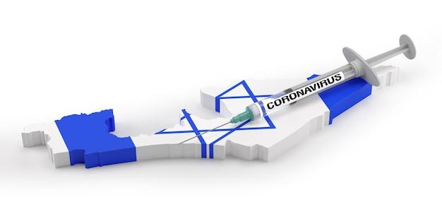 Seringa de coronavirus no mapa da bandeira de israel. renderização 3d