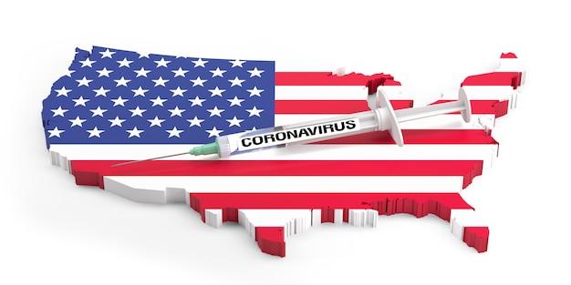 Seringa de coronavirus no mapa extrudado dos eua. renderização 3d