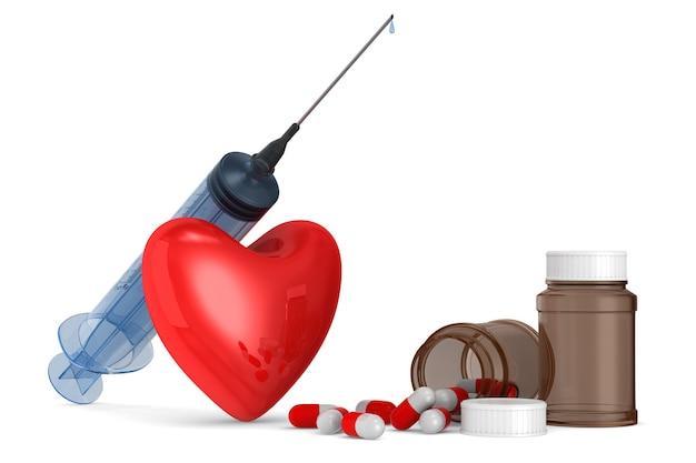 Seringa médica e coração no espaço em branco. ilustração 3d isolada