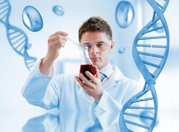 Sério, químico, teste, sangue, em, um, beaker