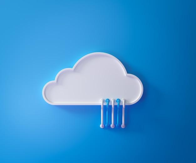 Serviço de computação em nuvem, conceito de hospedagem de tecnologia de armazenamento de dados em nuvem nuvem branca com cabos em azul
