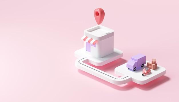 Serviço de entrega de caminhão e scooter para a casa do cliente, logística, conceito de ícone de entrega de pacote. ilustração 3d render.