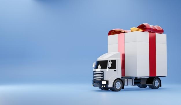 Serviço de entrega de caminhão happy gift box 3d render conceito