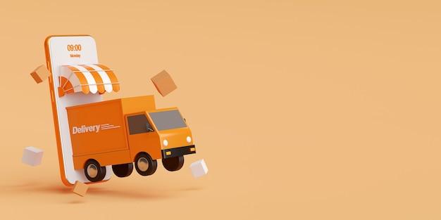 Serviço de entrega em aplicativo móvel. entrega de transporte por caminhão renderização em 3d