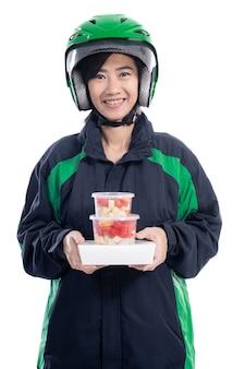 Serviço de entrega feminina. transporte de comida uber rider isolado sobre fundo branco