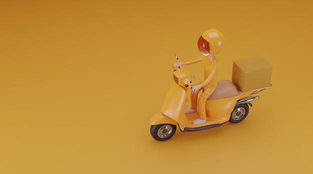 Serviço de entrega on-line de scooter com conceito de máscaras. renderização em 3d.
