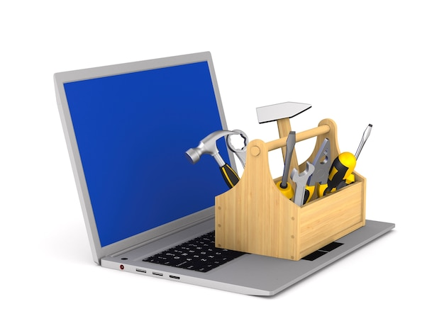 Serviço de laptop em fundo branco. ilustração 3d isolada
