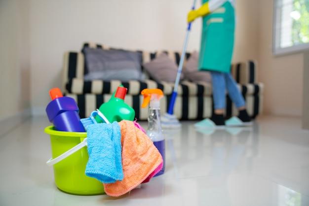 Serviço de limpeza. esponjas, produtos químicos e esfregona