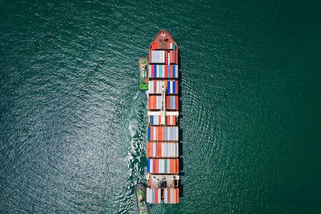 Serviço de logística de carga comercial e transporte no oceano