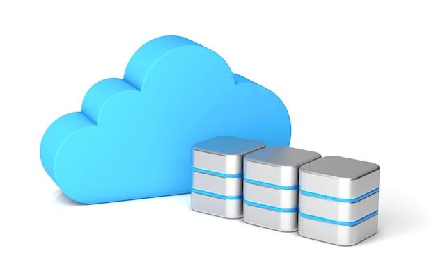 Servidor de nuvem para armazenamento de dados pessoais ou empresariais. isolado no fundo branco. renderização 3d.