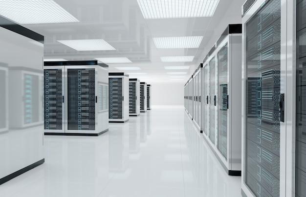 Servidores brancos sala de centro com computadores e sistemas de armazenamento de renderização 3d