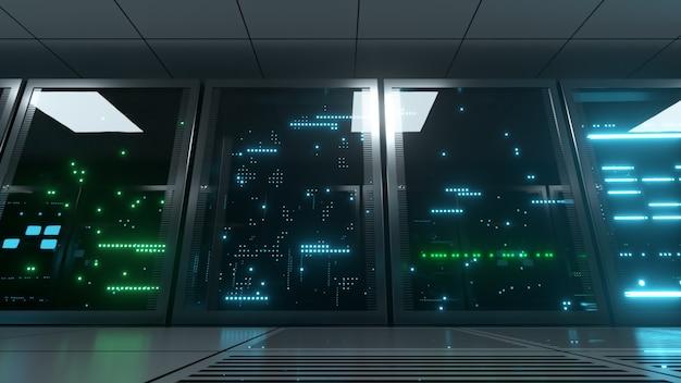 Servidores em rede e de dados atrás de painéis de vidro em uma sala de servidores.
