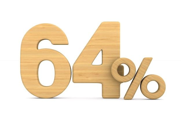 Sessenta e quatro por cento em fundo branco.