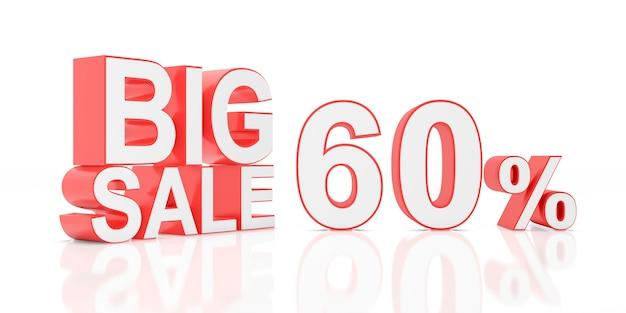 Sessenta por cento de venda. grande venda para banner do site. renderização em 3d.