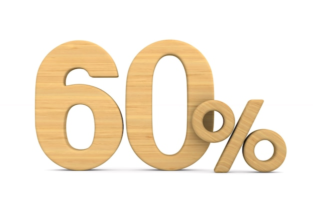 Sessenta por cento em fundo branco.