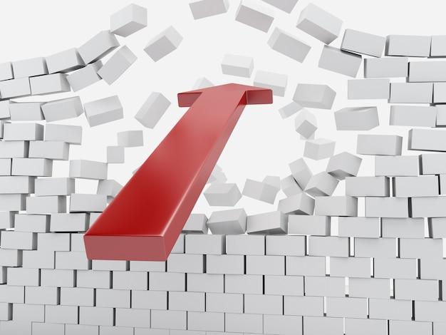 Seta 3d vermelha que quebra a parede de tijolo.