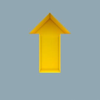 Seta amarela em fundo cinza. renderização 3d. ninguém por perto.
