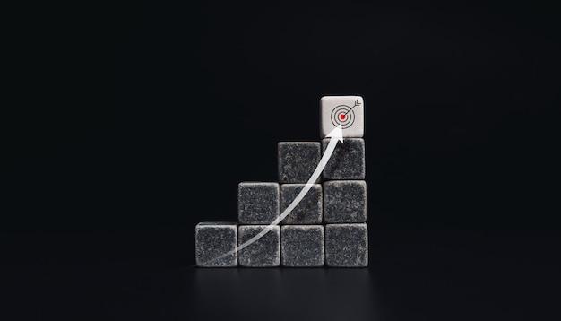 Seta ascendente de baixo para cima nas etapas do gráfico com blocos de dados em preto e branco com ícone de alvo em fundo escuro, estilo minimalista. o processo de crescimento do negócio e o conceito de melhoria econômica.