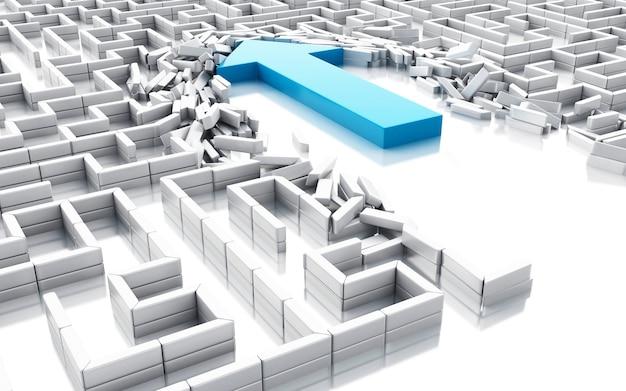 Seta azul 3d quebrando as paredes no labirinto
