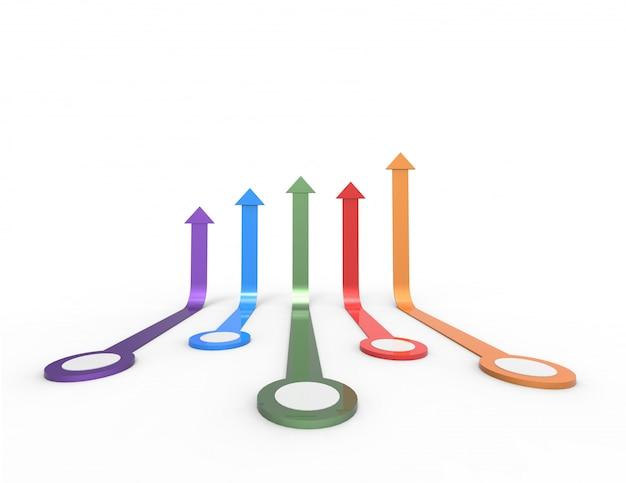 Seta colorida. conceito de negócio crescente. renderização em 3d.