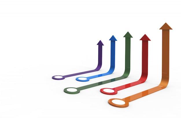 Seta colorida. negócio crescente rendição 3d.