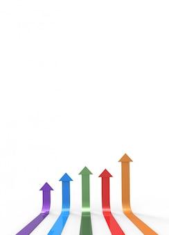 Seta colorida sobre fundo branco com copyspace. conceito de negócio crescente. renderização 3d.