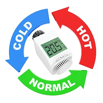 Seta com sinal de valores de temperatura ao redor da válvula termostática do radiador sem fio digital em um fundo branco. renderização 3d.