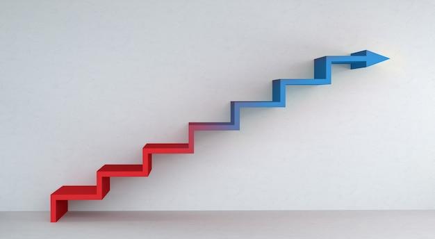 Seta de escadas azuis e vermelhas subindo na renderização 3d de muro de concreto