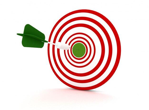 Seta do alvo - conceito de objetivo. ilustração de renderização 3d