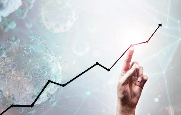 Seta e mão crescente de negócios