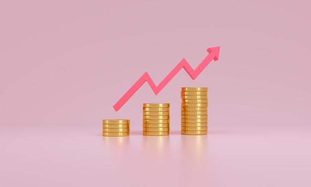Seta para cima e pilhas de moedas no fundo rosa. conceito de crescimento e sucesso financeiro. renderização 3d