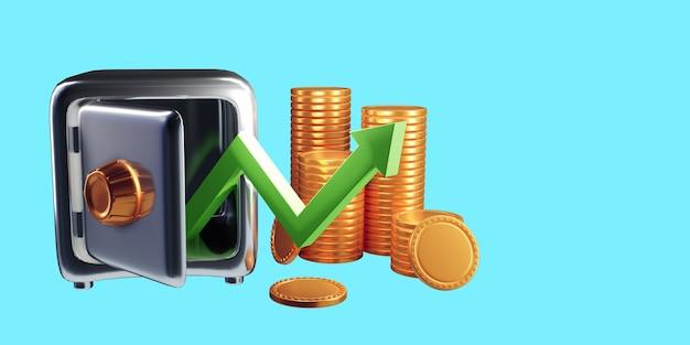 Seta para cima e pilhas de moedas. sucesso financeiro e conceito de crescimento. ilustração 3d render Foto Premium