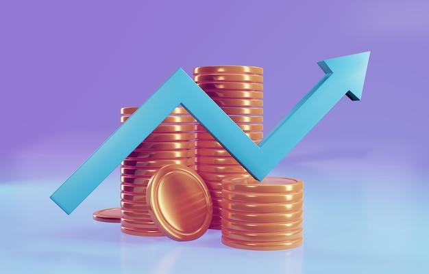 Seta para cima e pilhas de moedas. sucesso financeiro e conceito de crescimento. ilustração 3d render