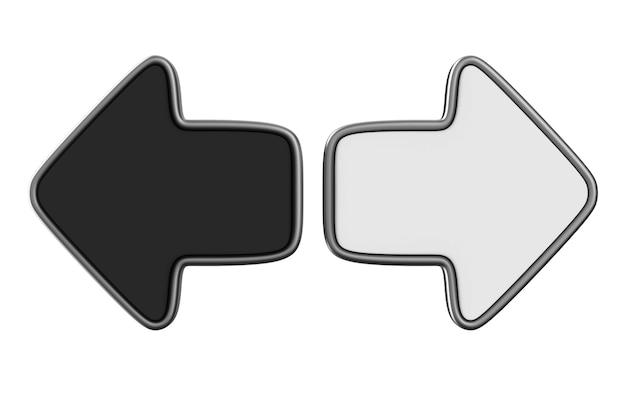 Seta preta e branca. renderização 3d isolada