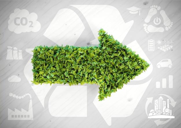 Seta verde de ecologia - ilustração 3d com ícones de ecologia em fundo cinza de madeira.