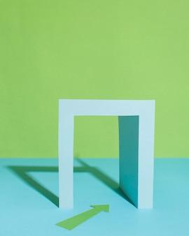 Seta verde e arranjo em arco