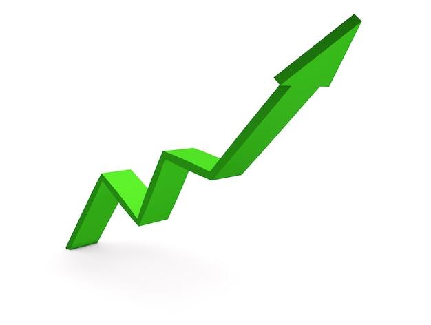 Seta verde para cima, gráficos de crescimento