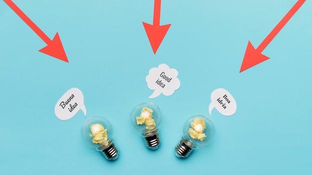 Setas apontando para lâmpadas