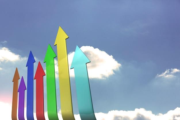 Setas coloridas apontando para cima