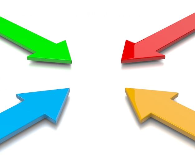 Setas coloridas convergentes