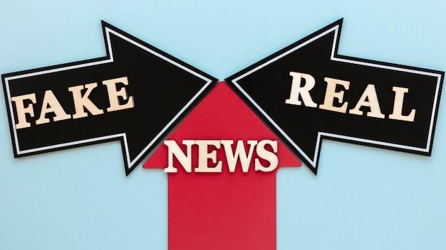 Setas com notícias falsas
