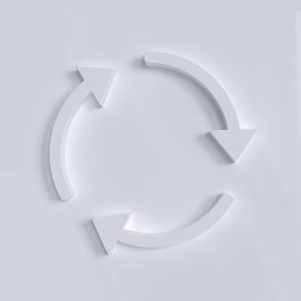 Setas de círculo brancas girando sobre fundo branco atualizar, recarregar, reciclar, sinal de rotação