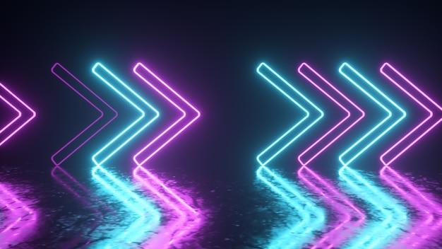 Setas de néon brilhante sobre uma superfície de metal