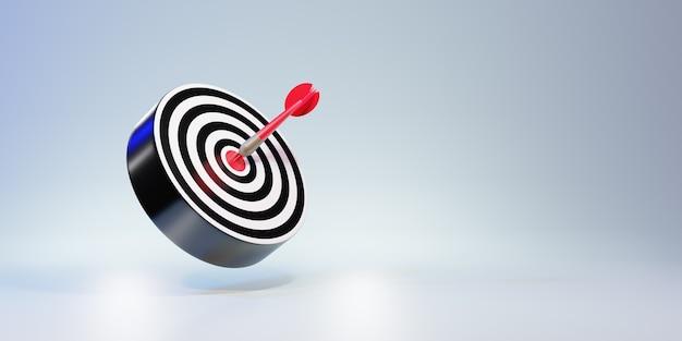 Setas vermelhas alcançando o alvo central. alvo de dardos. alvo do negócio. conceito de negócio de sucesso. renderização 3d