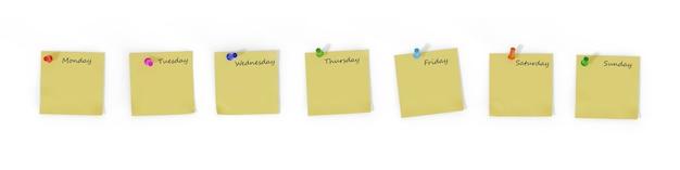 Sete notas em branco com os dias da semana fixados com alfinetes coloridos isolados na superfície branca.